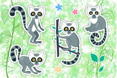 Vector Lemur Clip Art