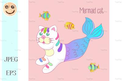 Cute mermaid cat purrmaid with purple tail.