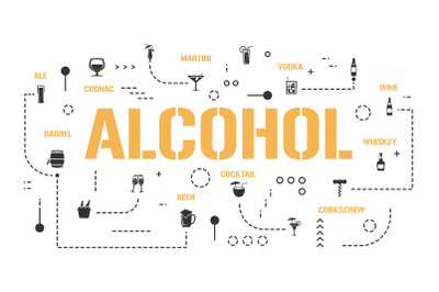 Alcohol word concepts banner and icons