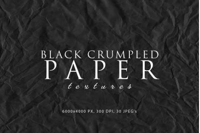 Black Crumpled Paper Textures