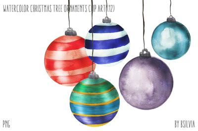 Watercolor Christmas Tree Ornaments
