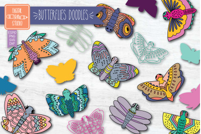 Hand Drawn Butterflies Color Clip art | Moth Insect | Bug Illustration