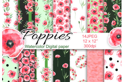 Watercolor digital paper poppies seamless patterns scrapbookin