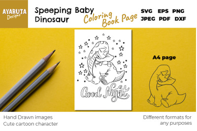 SLEEPING BABY DINOSAUR Coloring Book Page SVG PNG A4 format