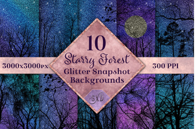 Starry Forest Glitter Snapshot Backgrounds - 10 Image Set