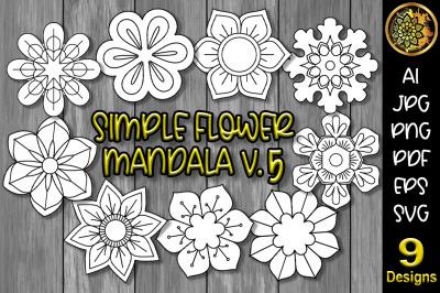 Simple Flower Mandala Set-5