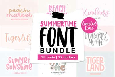 Summer Font Bundle - 15 Handwritten Fonts!