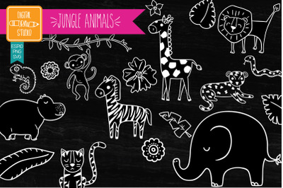 Jungle Animals and Tropical leafs Hand Drawn | White Doodles