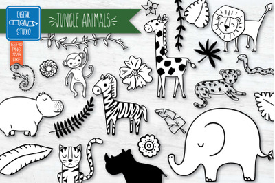 Jungle Animals and Tropical leafs Hand Drawn Doodles