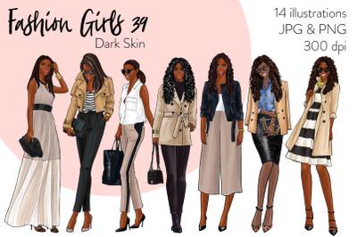 Watercolor Fashion Clipart - Fashion Girls 38 - Dark Skin