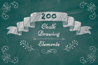 Big Set of 200 Chalk Drawing Rustic Decorative Elements. PNG.