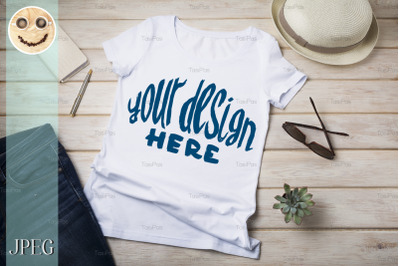 Womens T-shirt mockup with summer hat.