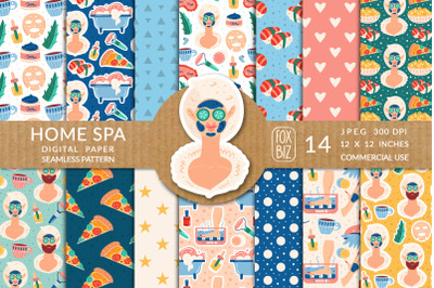 Home spa vector seamless patterns, digital prints.