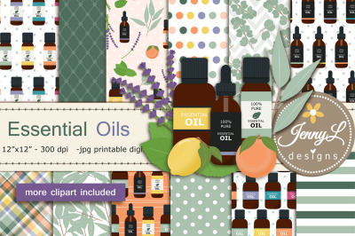 Essential Oils Digital Papers and Clipart