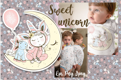 Unicorn Png Svg baby in pajamas with a unicorn toy, baby shower.