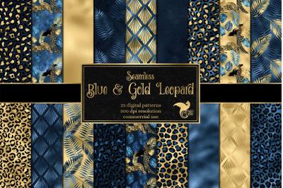Blue and Gold Leopard Digital Paper