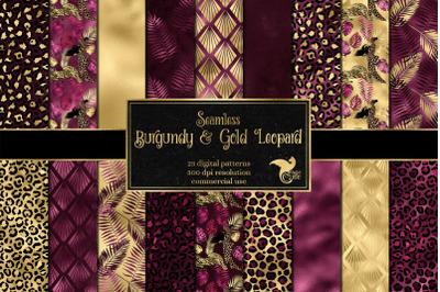 Burgundy and Gold Leopard Digital Paper