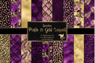 Purple and Gold Leopard Digital Paper