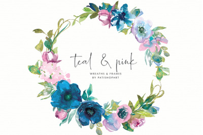 Teal & Pink Floral Wreaths and Frames Watercolor