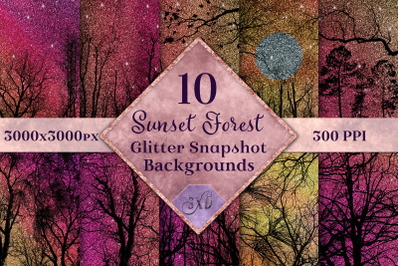 Sunset Forest Glitter Snapshot Backgrounds - 10 Image Set