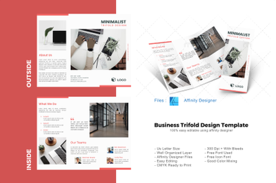 Minimal pro trifold brochure template