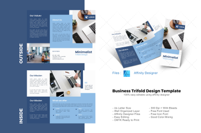 Company business trifold brochure template