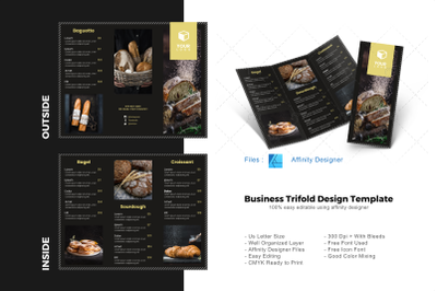 Luxury bakery trifold brochure template
