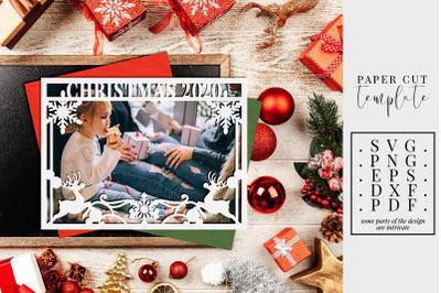 Christmas 2020 Frame Paper Cut Template, Winter Decor SVG, PDF, DXF