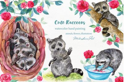 Cute raccoons .watercolor clipart