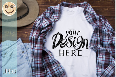 Mens T-shirt mockup with plaid shirt and hat.