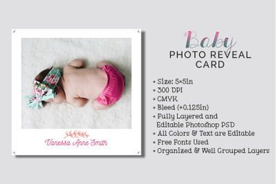 Baby Photo Reveal Card