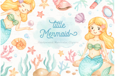 Little Mermaid Watercolor Clip Arts