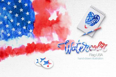 Watercolor. USA flag