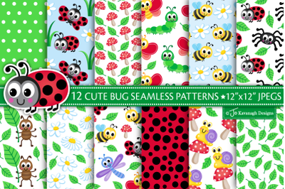 Cute Bugs Digital Paper, Bug Patterns, Insects -P49