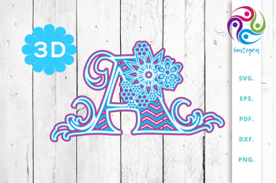 3D Multilayer Floral Chevron Letter A , SVG Cut File