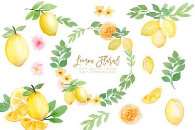 Watercolor Lemon Citrus Fruit Clipart, Summer Floral Yellow Clipart
