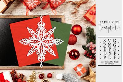 Christmas Paper Cut Template, Xmas Star Decoration SVG, PDF, DXF