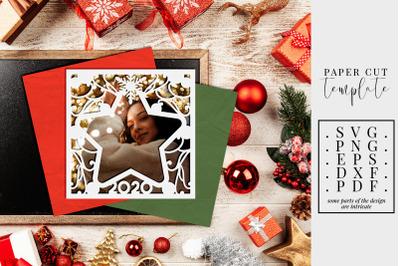 Christmas 2020 Frame Paper Cut Template, Star Frame SVG, PDF, DXF