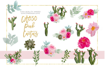 Cactus Bloom clipart, Floral Wedding DIY, Pink cacti Succulent,