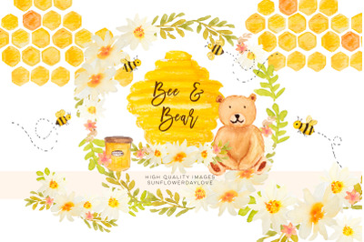 Watercolor bees and honey clipart, bee bear clipart,