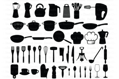 Kitchen SVG Bundle, Kitchen Tools, Baking SVG Cut Files,  Utensils SVG