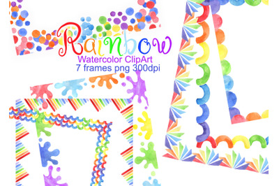 Watercolor rainbow frame border clipart baby shower card png
