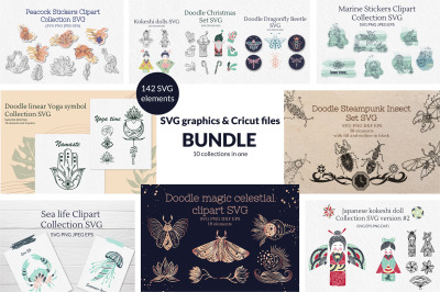 Doodle SVG graphics & Cricut files Bundle 70% off