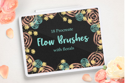 Flower Procreate Flow And Stamp Brushes - Hand Painted Floral Brushes
