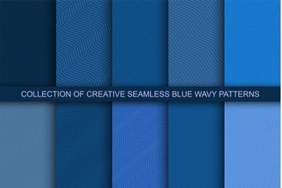 Blue seamless wavy patterns