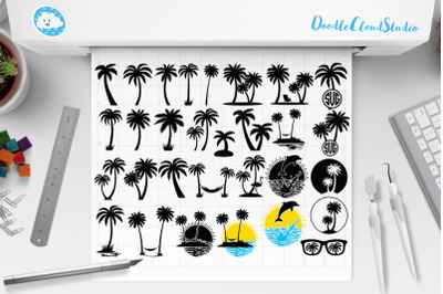 Palm Tree Bundle SVG Cut Files. Summer, Beach,  Tropical SVG,