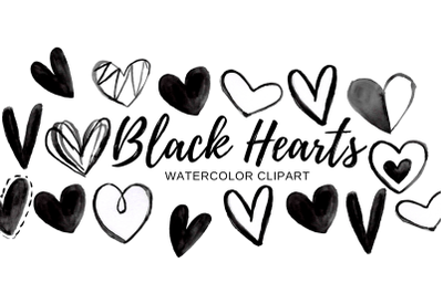 Watercolor black doodle heart clipart