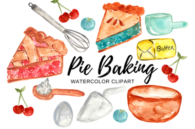 Watercolor pie baking clipart