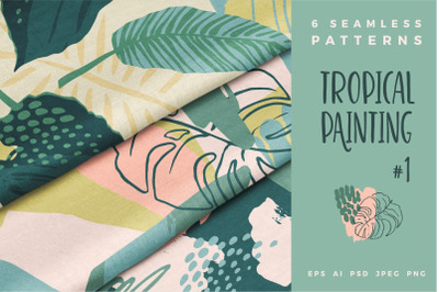 Tropical painting. Seamless patterns