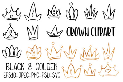 Doodle Crown, Black And Golden Vector PNG Clipart